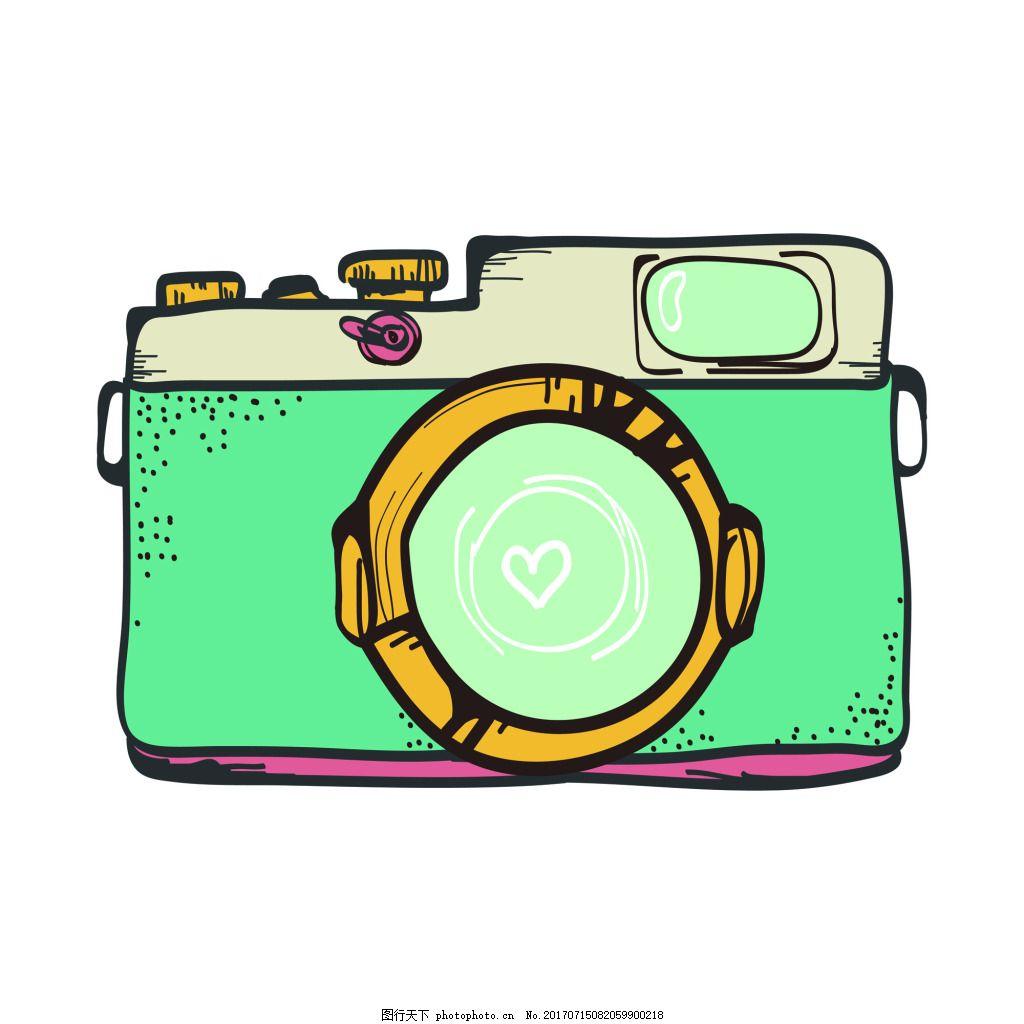 绿色照相机夏季小清新矢量素材 手绘 卡通 度假 照片 拍照 装饰
