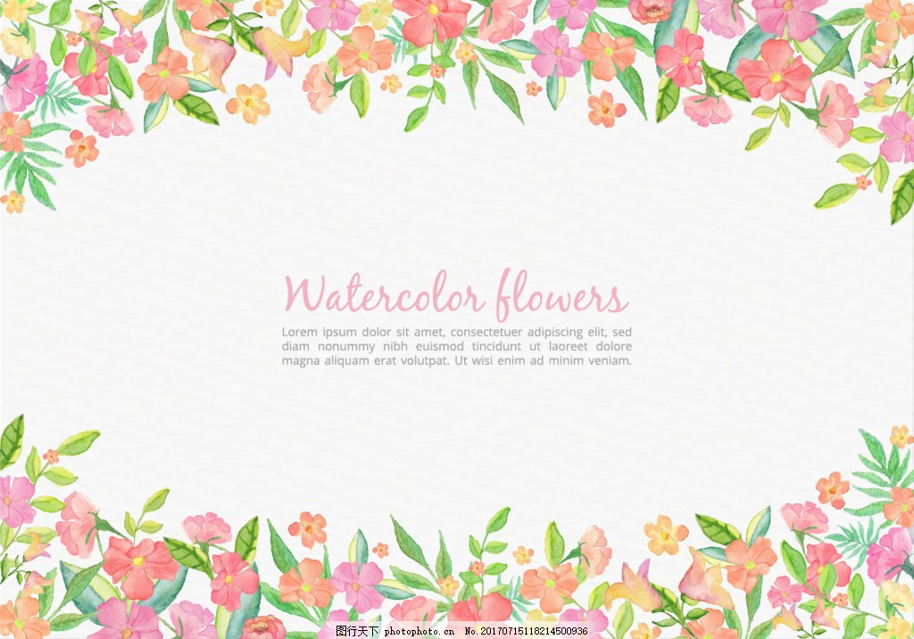 清新 手绘植物 水彩花卉 花卉花朵 矢量素材 婚礼 婚庆 水彩 ppt背景
