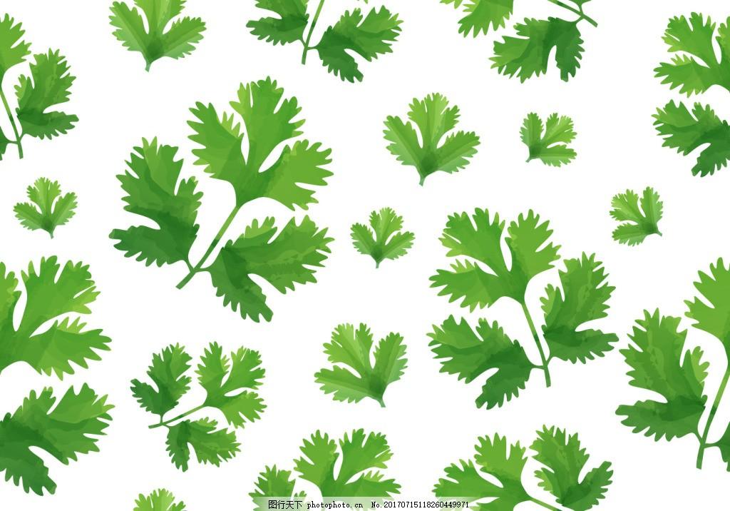 绿色清新树叶叶子背景素材 清新背景 小清新 矢量素材 印花图案