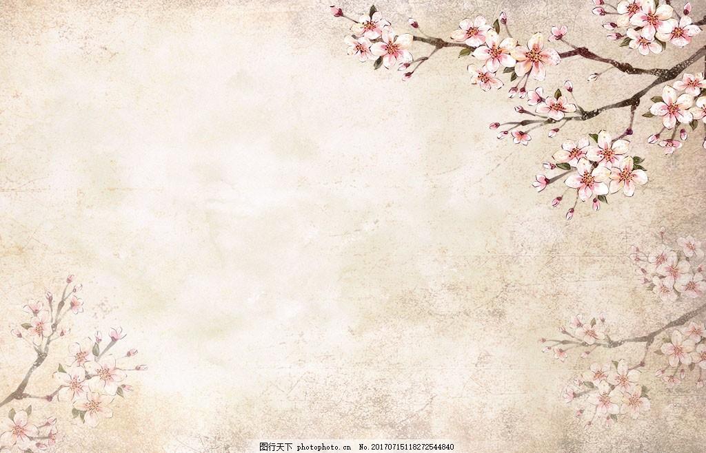 手绘桃花复古背景