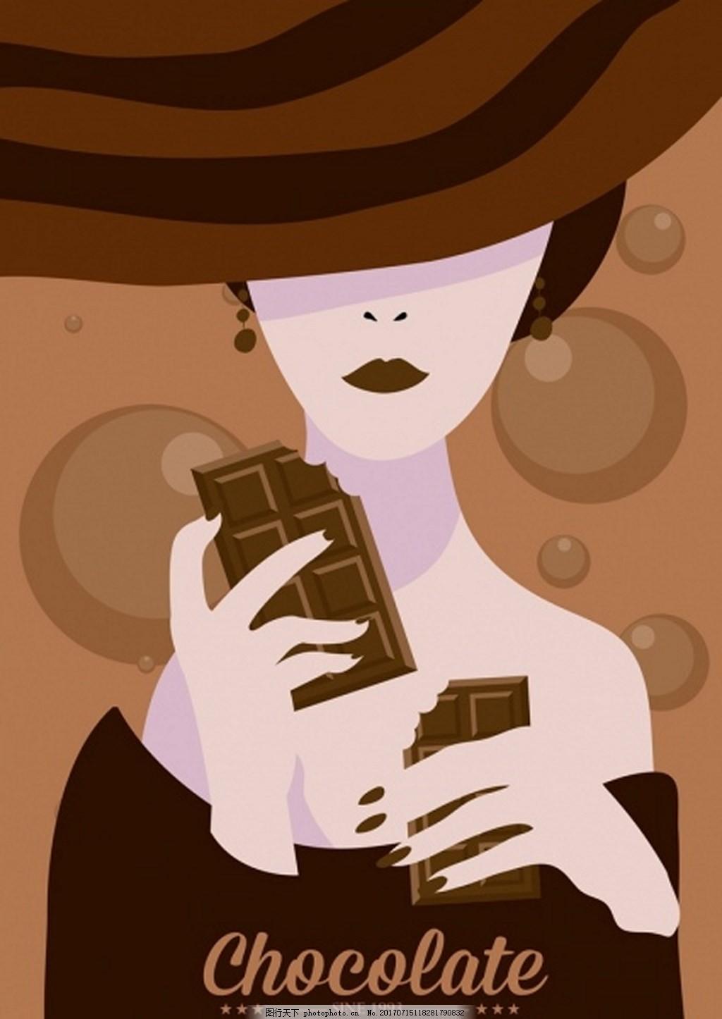 美女巧克力背景素材 女人 糖 帽子 爱吃巧克力的美女 矢量背景