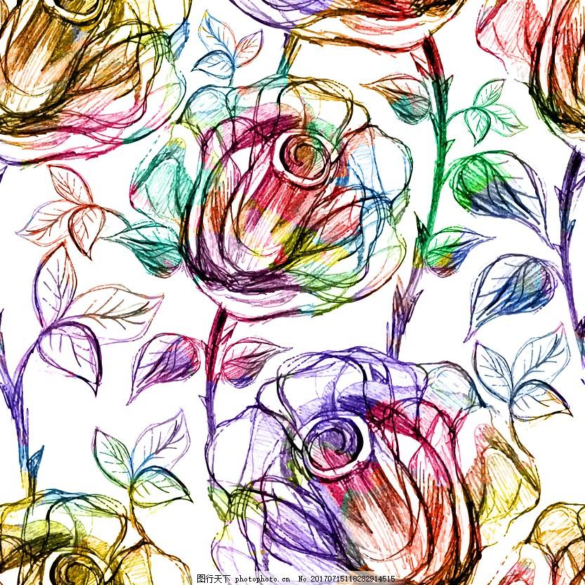 手绘七彩玫瑰背景
