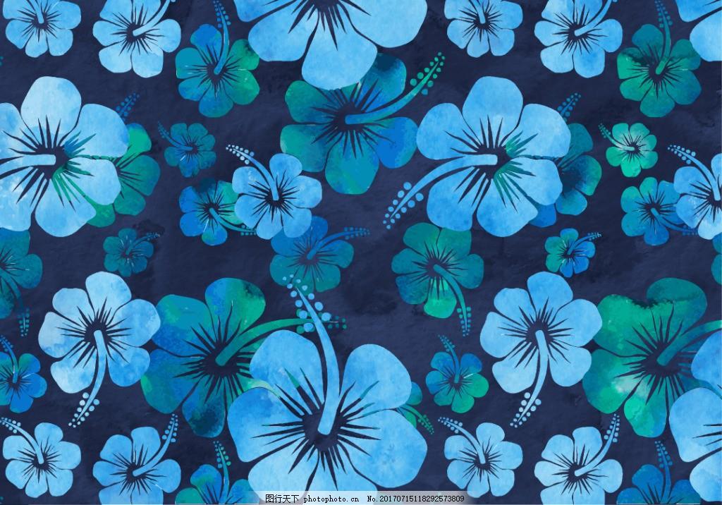 蓝色唯美水彩花卉花朵背景