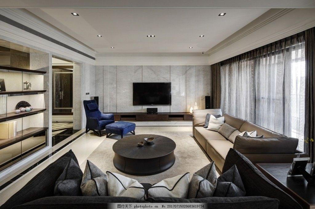 客厅背景墙效果图 室内设计 家装效果图 壁纸 木质背景墙 圆形茶几