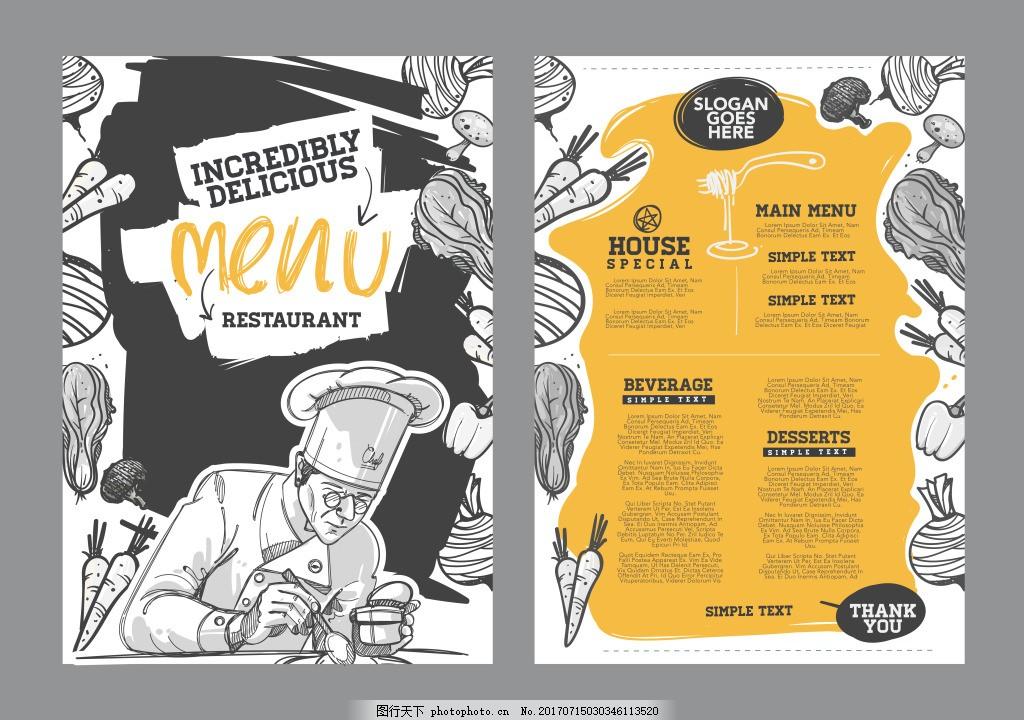 创意手绘西餐宣传单 简约 大气 创意 手绘 厨师 西餐 宣传单 食物