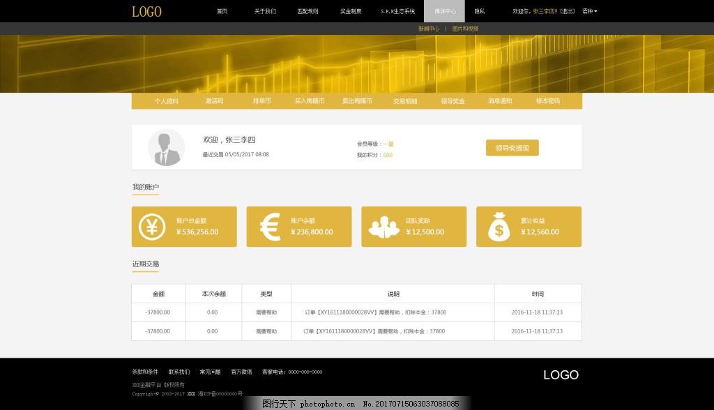设计图库 界面设计 网页界面模板  金融类首页设计个人中心 金融类