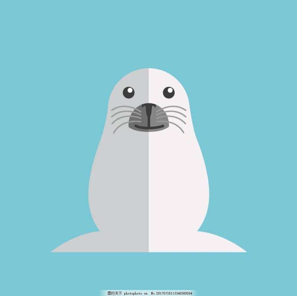 卡通海豹 卡通动物 动漫卡通 可爱 贺卡 动物插画 插画 儿童绘本 儿童