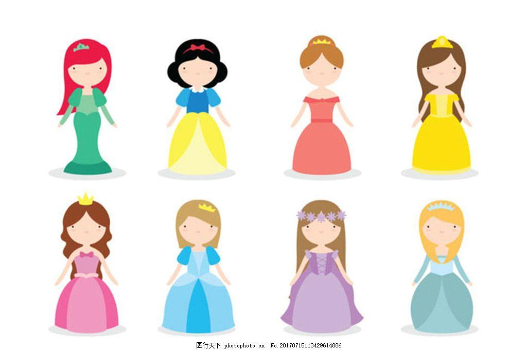 童话故事迪斯尼公主 可爱 孩子 长发 女孩 卡通 爱丽丝仙境 漫画