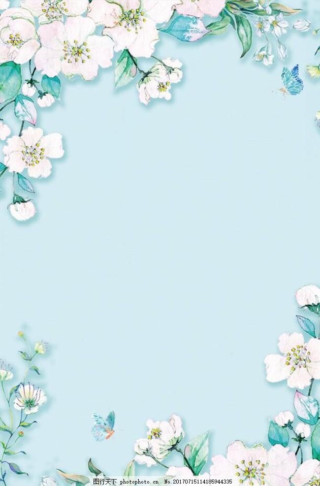 清新手绘花卉背景 花朵 花卉 手绘 绘画 清新 简约 极简 花草 女装