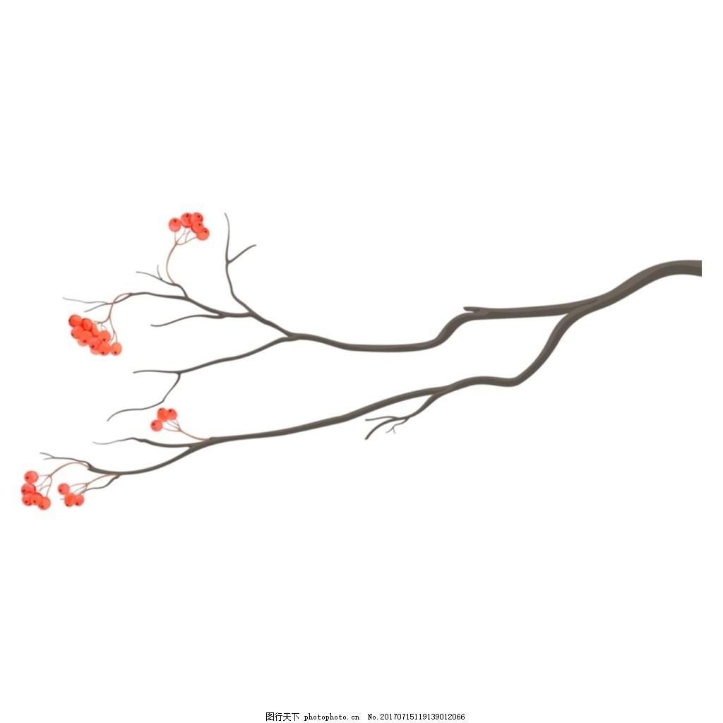 一枝梅花png元素 梅花 树枝 树干 鲜花 腊梅花