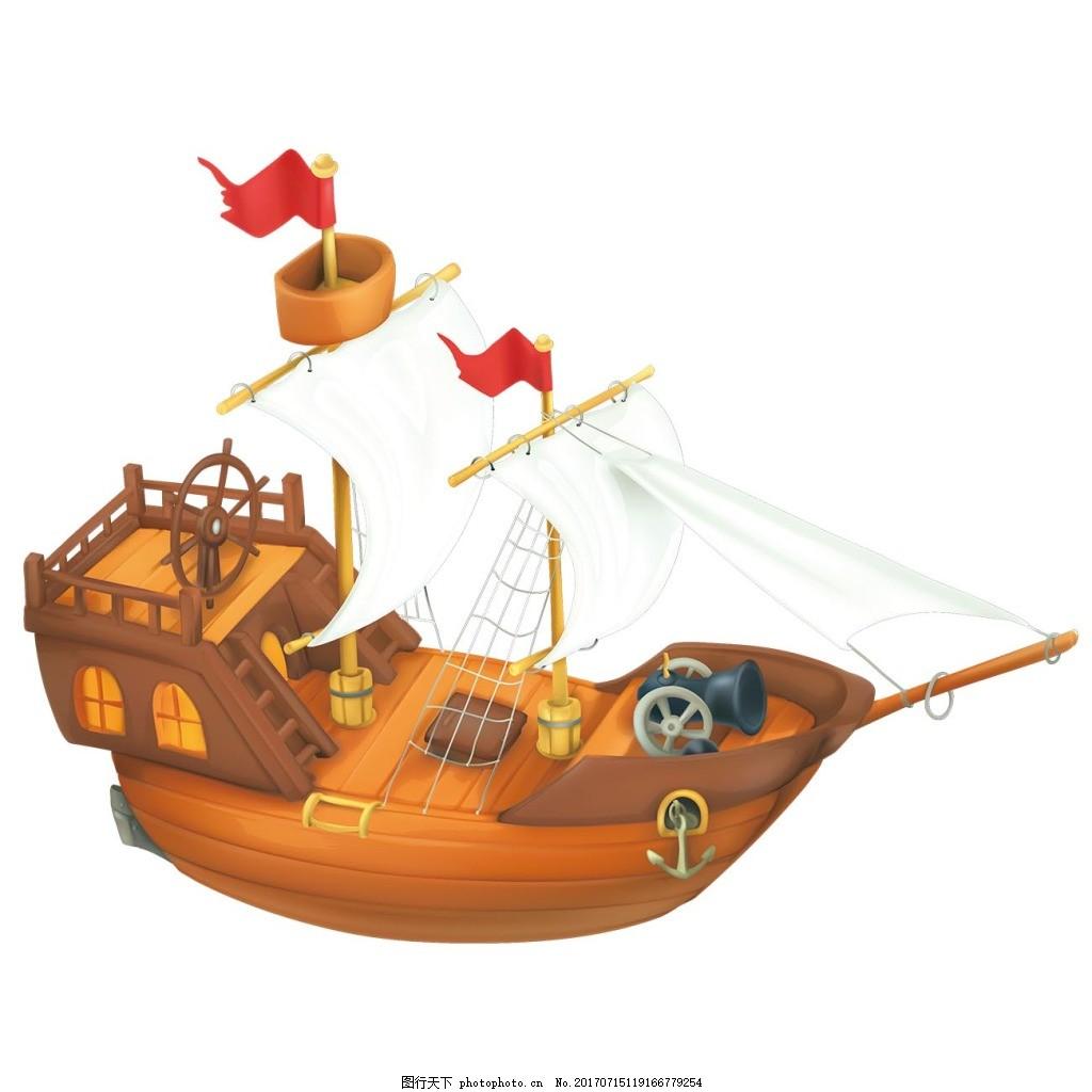 卡通小船png元素 手绘小船 木头船 航海 远行
