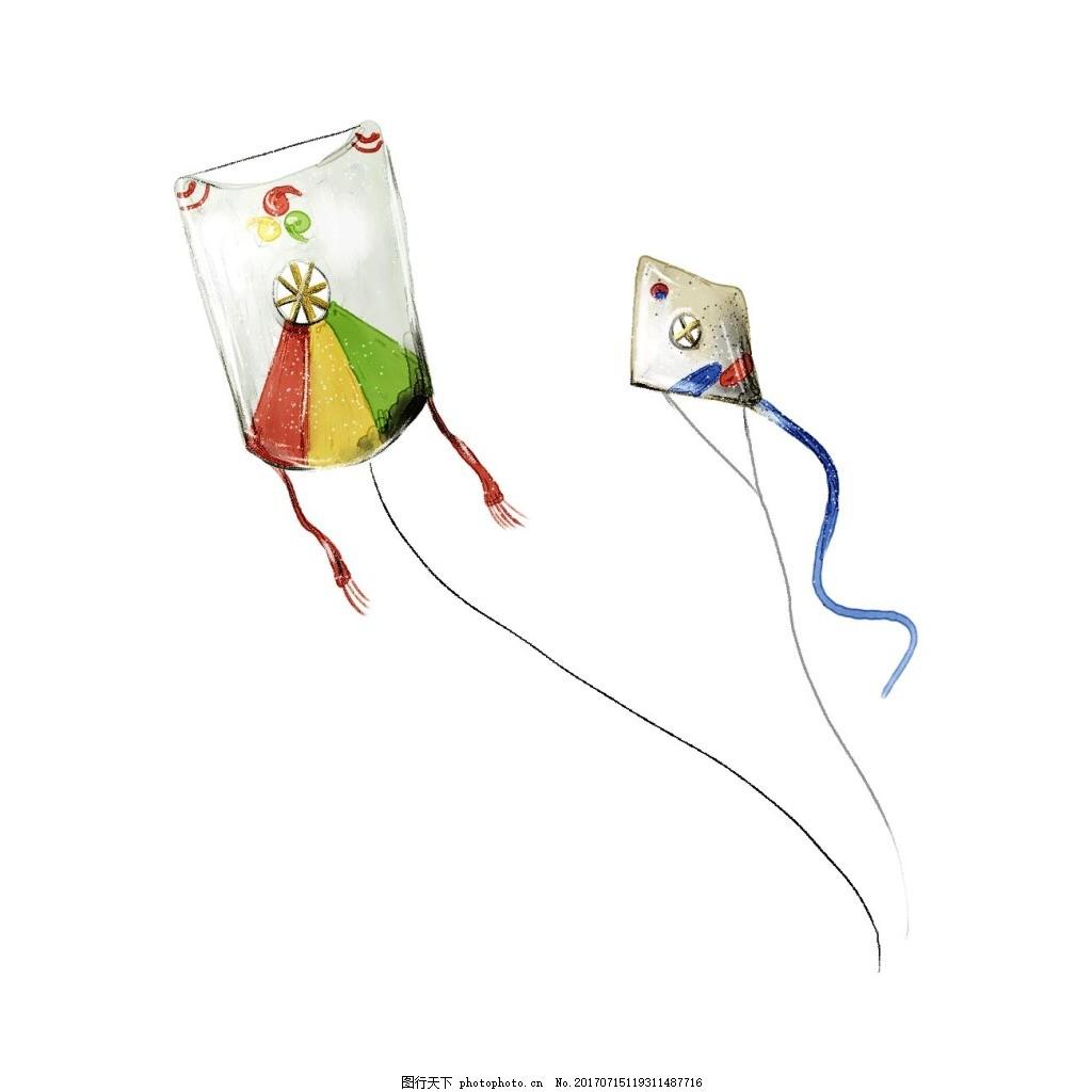 手绘风筝飘浮元素