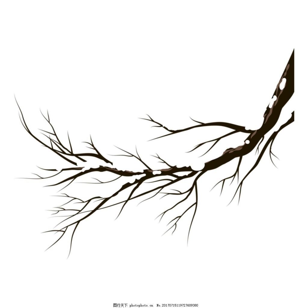 手绘复古树杆元素 水墨 中国风 黑色树枝 枯枝 免抠