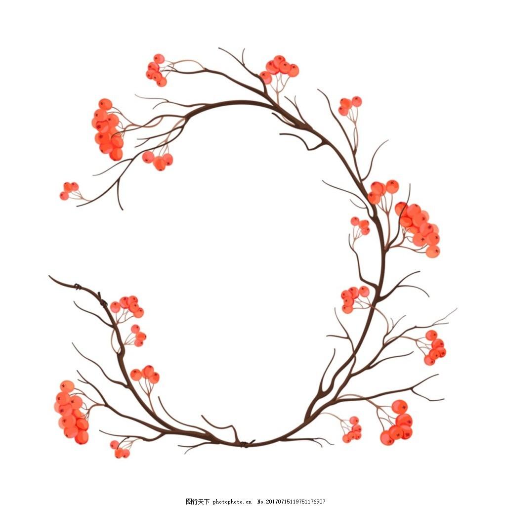 手绘花藤花朵元素