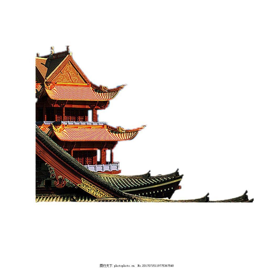 手绘中式建筑元素 手绘 飞角 屋檐 中式建筑 宫殿 阁楼 png 免抠 png