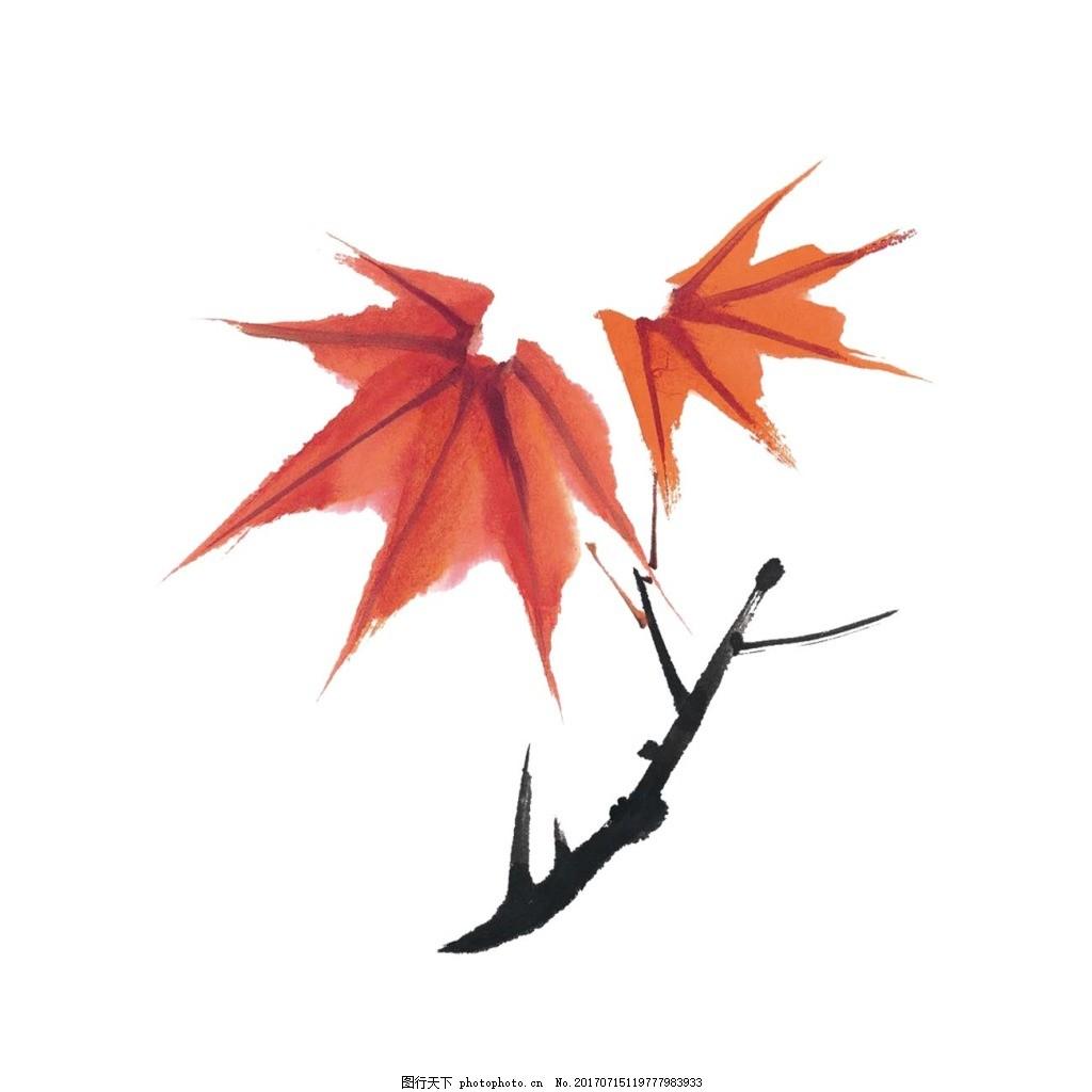 手绘枫叶树枝元素