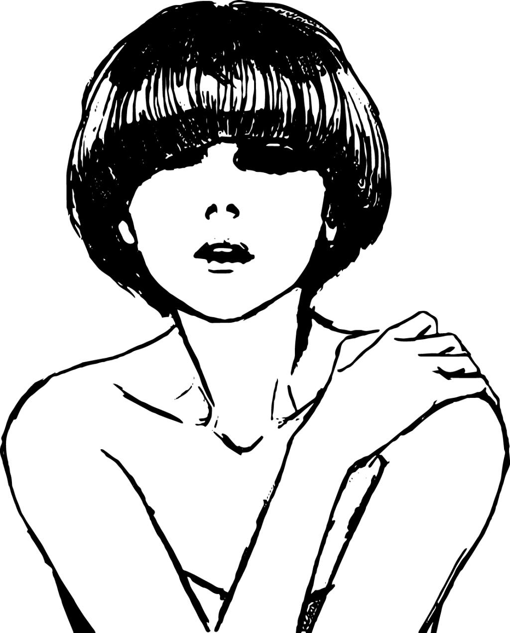 人物速写 铅笔画 美女 矢量 人物画 黑白速写 线描