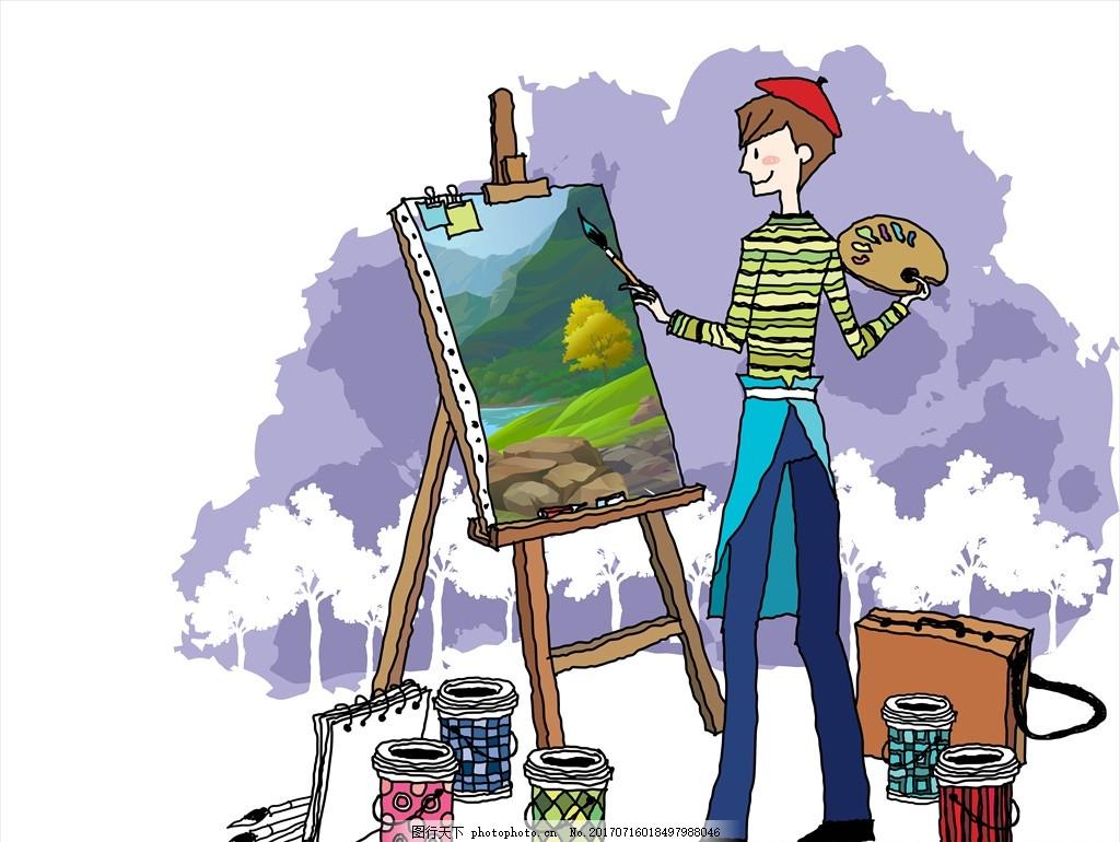 颜料 男孩 卡通人物 卡通插画 树木 卡通插画 设计 动漫动画 风景漫画