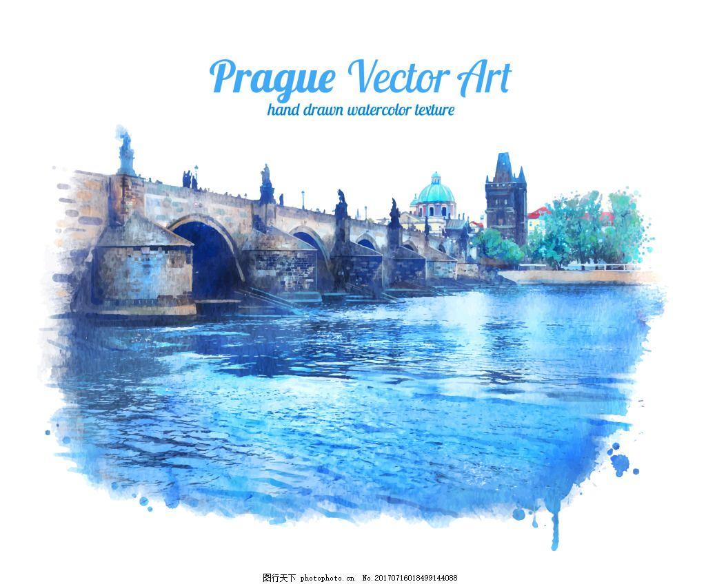 水彩绘大河风景插画 水彩绘 手绘 蓝色 河流 大桥 艺术 风景 插画