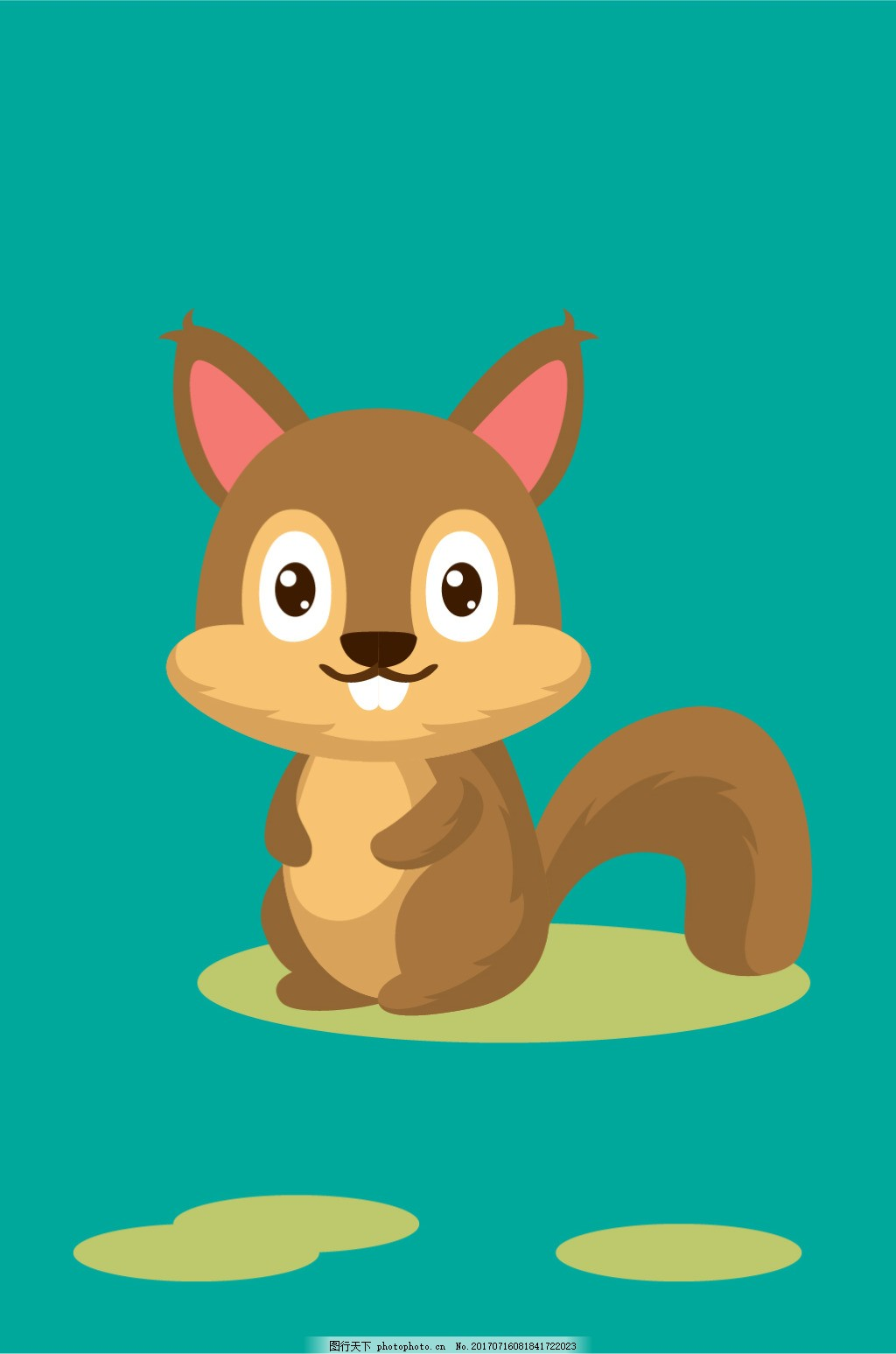 松鼠小牙西卡通插画 松树 动物 棕色 大牙 可爱 大眼 插花 矢量