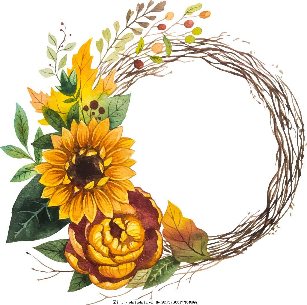 黄色太阳花植物背景 花环 水彩绘 植物 黄色 太阳花 手绘 叶子 背景