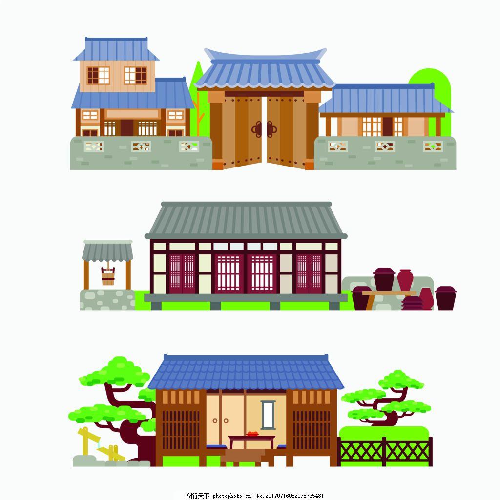 藍色屋頂房子中國古代建筑房屋矢量素材