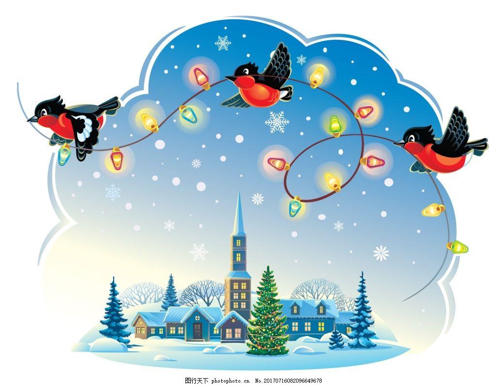 小鸟卡通冬天积雪森林小屋矢量插画