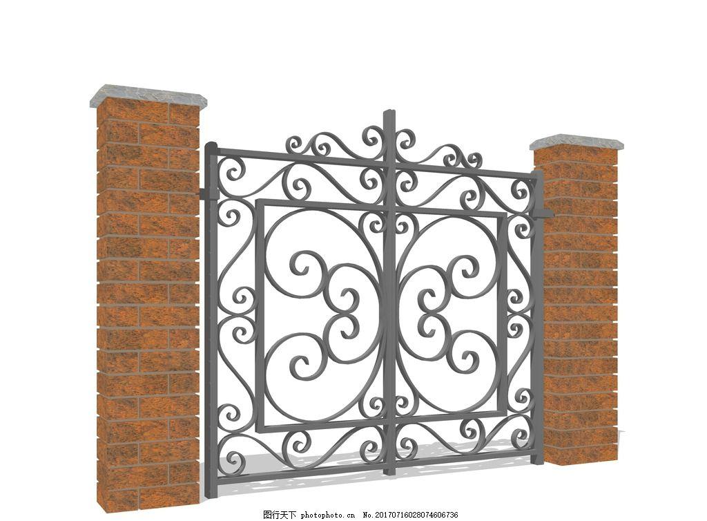 su入口建筑 su欧式大门 欧式大门模型 铁艺大门 欧式小区入口 小区