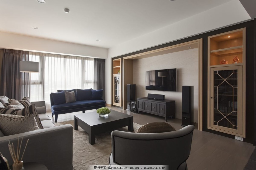 现代简约客厅背景墙效果图 室内设计 家装效果图 壁纸 家居背景墙