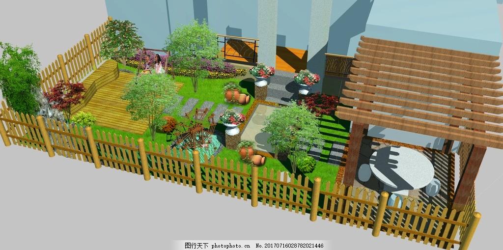 中式庭院景观 庭院 微景 亭 水 假山 苗木 设计 环境设计 园林设计 72