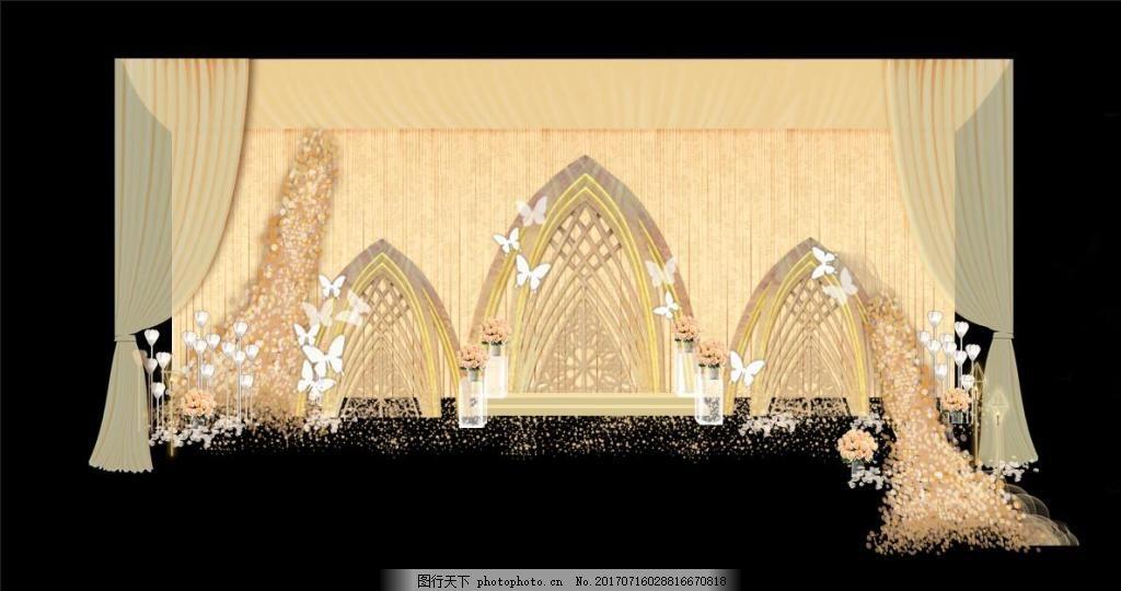 香槟色婚礼效果图 布幔 拱门 吊顶 花墙 花托 蝴蝶 路引 亚克力箱图片
