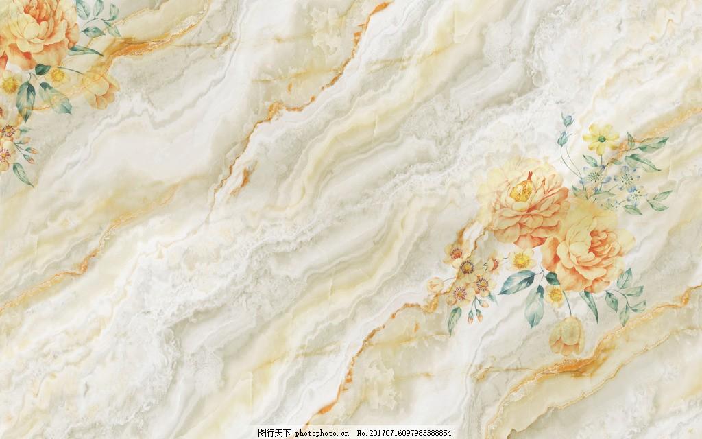 大理石石纹黄玫瑰简约纹理背景墙 欧式