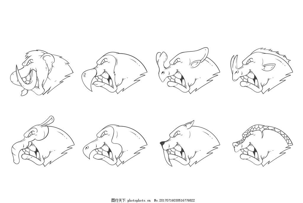 动物手稿 野生动物 卡通动物 动物世界 马 松鼠 兔子 可爱 小猫 小鸡