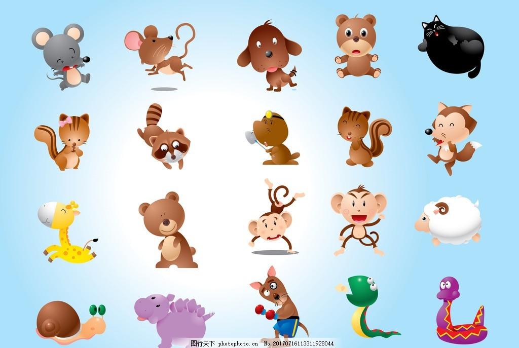 动物图标 野生动物 卡通动物 动物世界 马 松鼠 兔子 可爱 小猫 小鸡