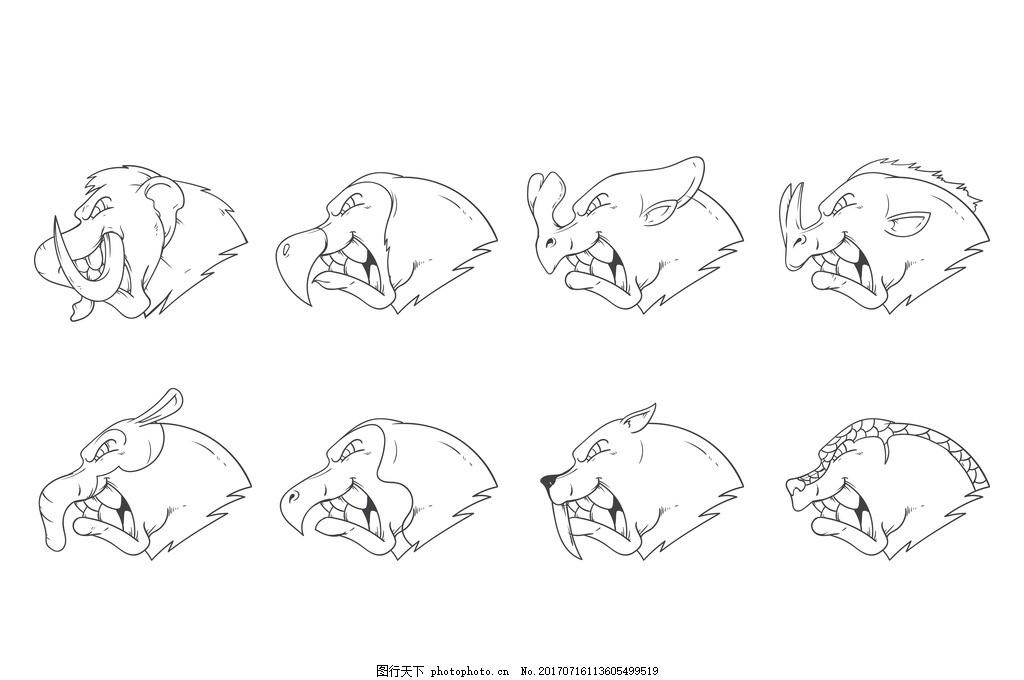 铅笔画 野生动物 卡通动物 动物世界 马 松鼠 兔子 可爱 小猫 小鸡