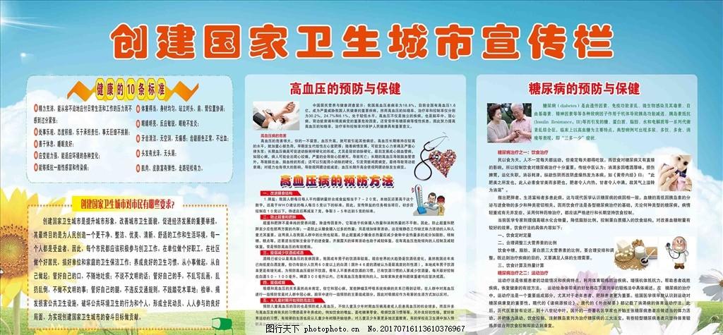 创建国家卫生城市宣传栏 健康教育 展板 广告设计 宣传画 文明