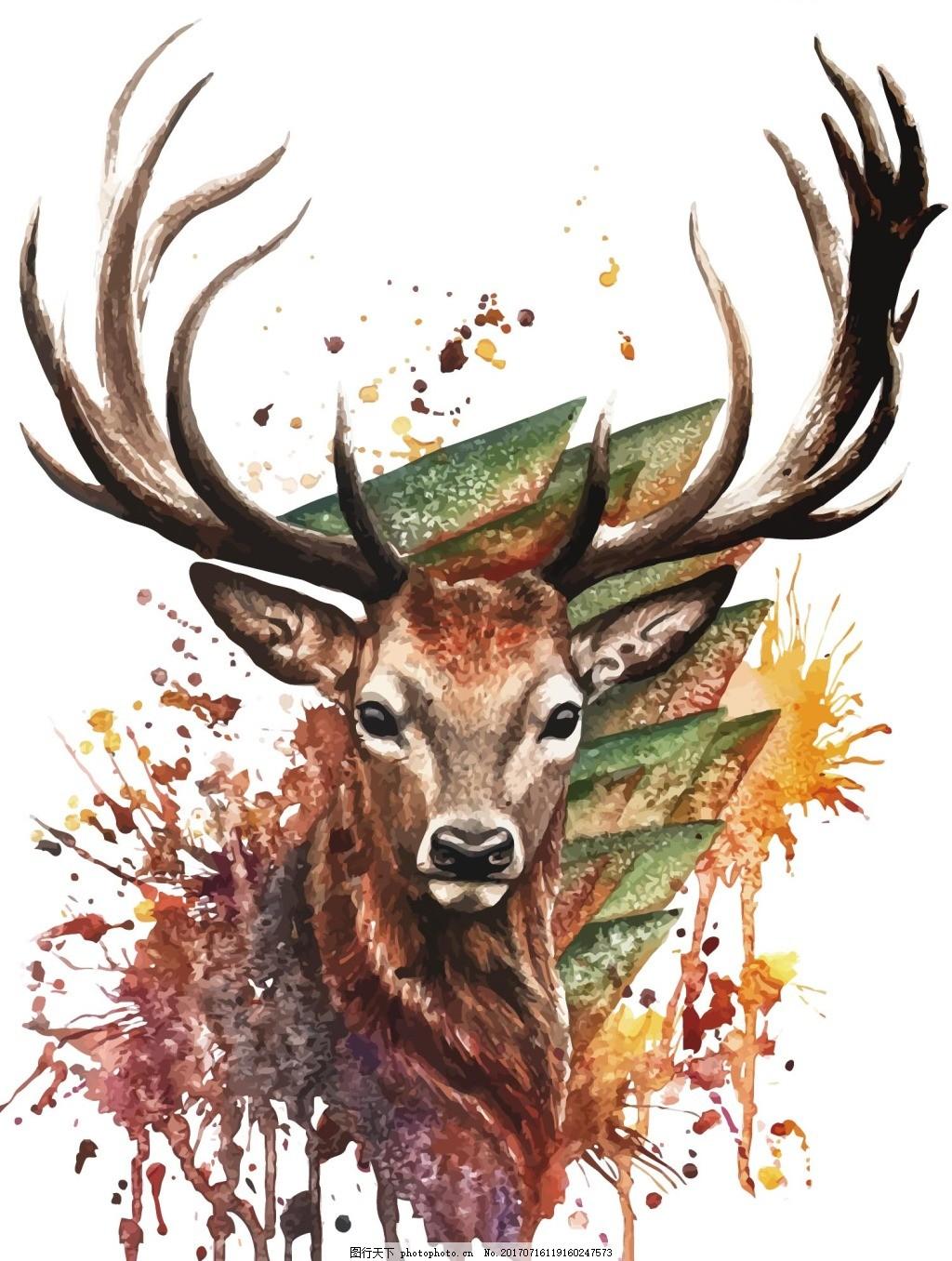 个性手绘小鹿png元素 个性图案 梅花鹿 野生小鹿