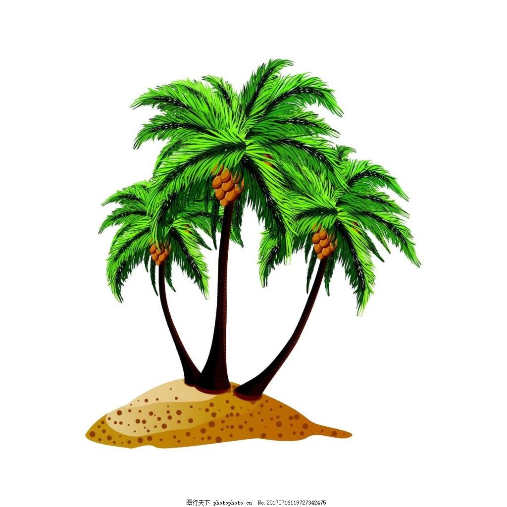 手绘沙滩椰树元素 手绘 大海 沙滩 椰树 椰林 png 免抠 素材 png
