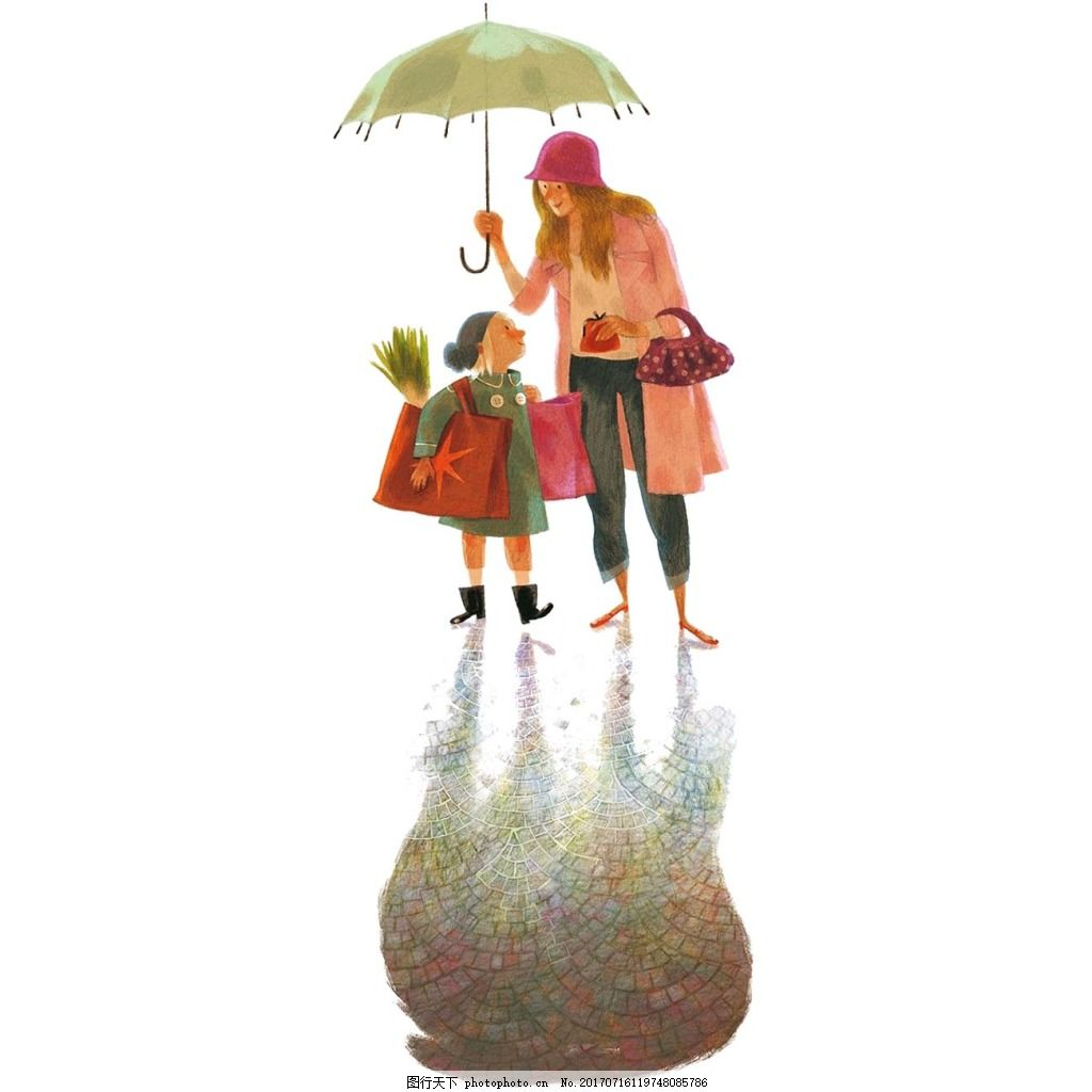 手绘雨天母女元素