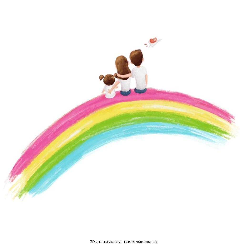 手绘彩虹png元素