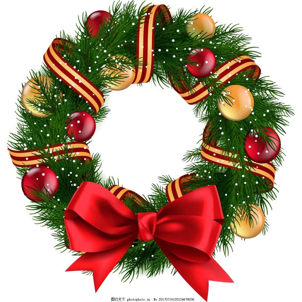 手绘蝴蝶结花环元素 手绘 圣诞节 圣诞装饰 红色蝴蝶结 花环 飘带 png