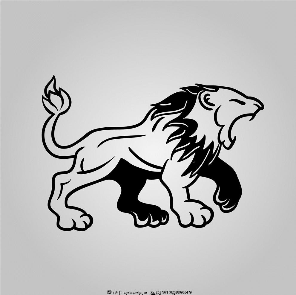 狮子矢量 动物图案 动物矢量 动物图片 动物世界 线描动物 动物素描