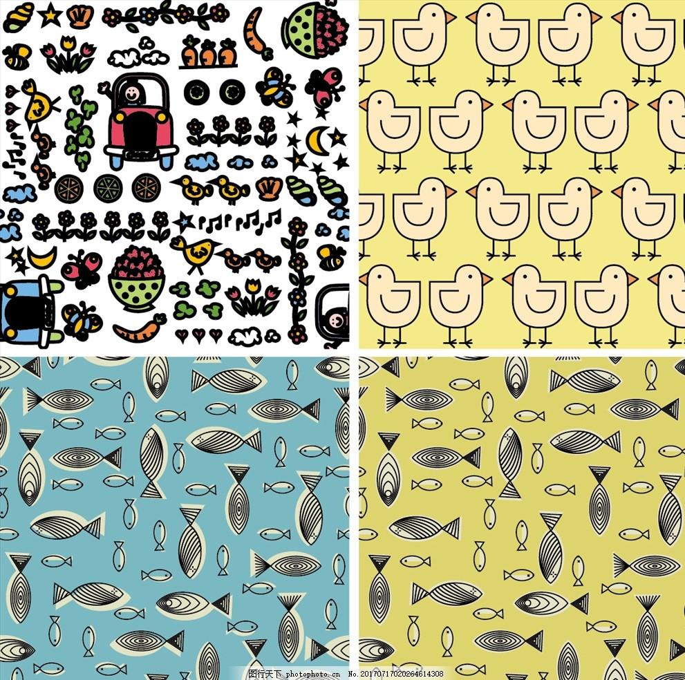 鱼鸡连续矢量墙纸 家纺四件套 欧式花纹 四方连续 定位印花 面料图案