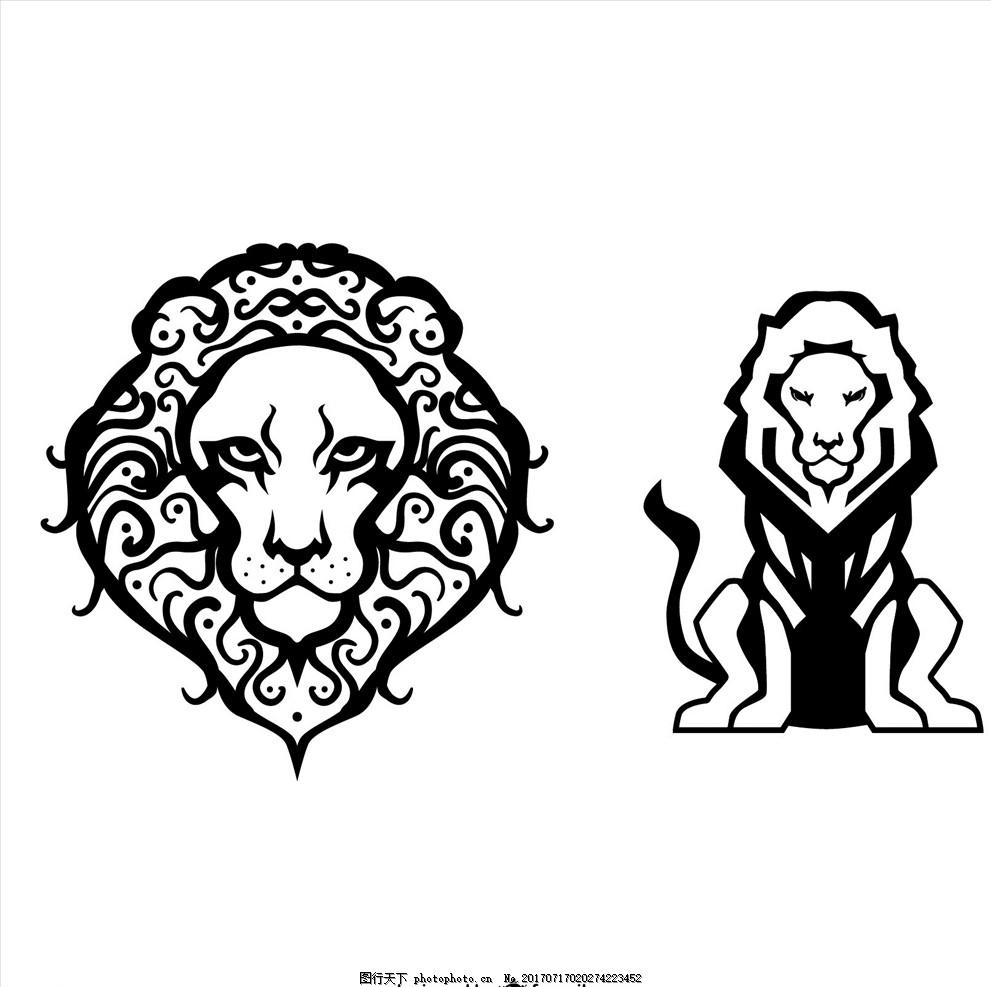 线描 手绘动物图案 手绘动物 素描动物 猛兽图案 猛兽 狮子 狮子头