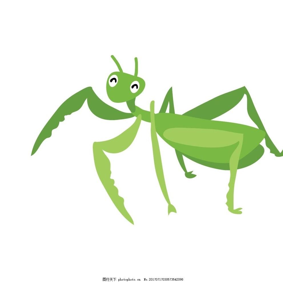 卡通螳螂 卡通动物 动漫卡通 可爱 贺卡 动物插画 儿童绘本 儿童画画