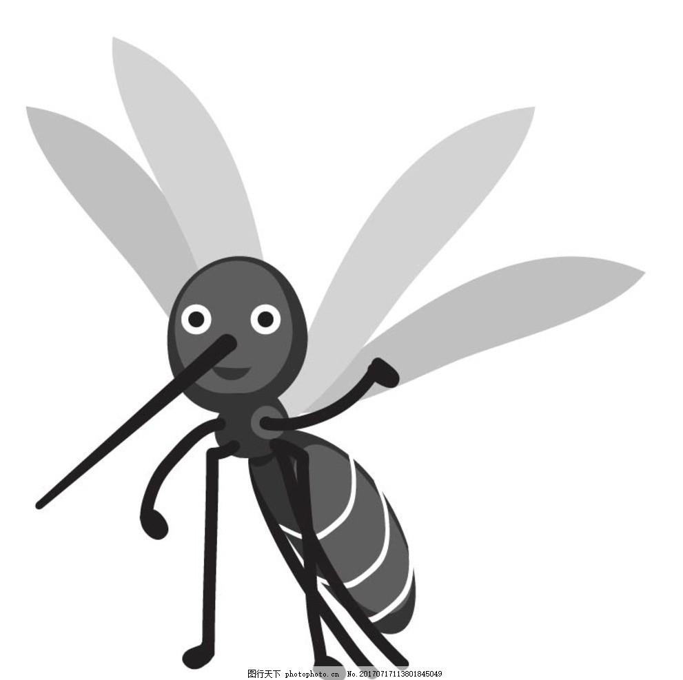 卡通蚊子,卡通动物 动漫卡通 可爱 贺卡 动物插画-图