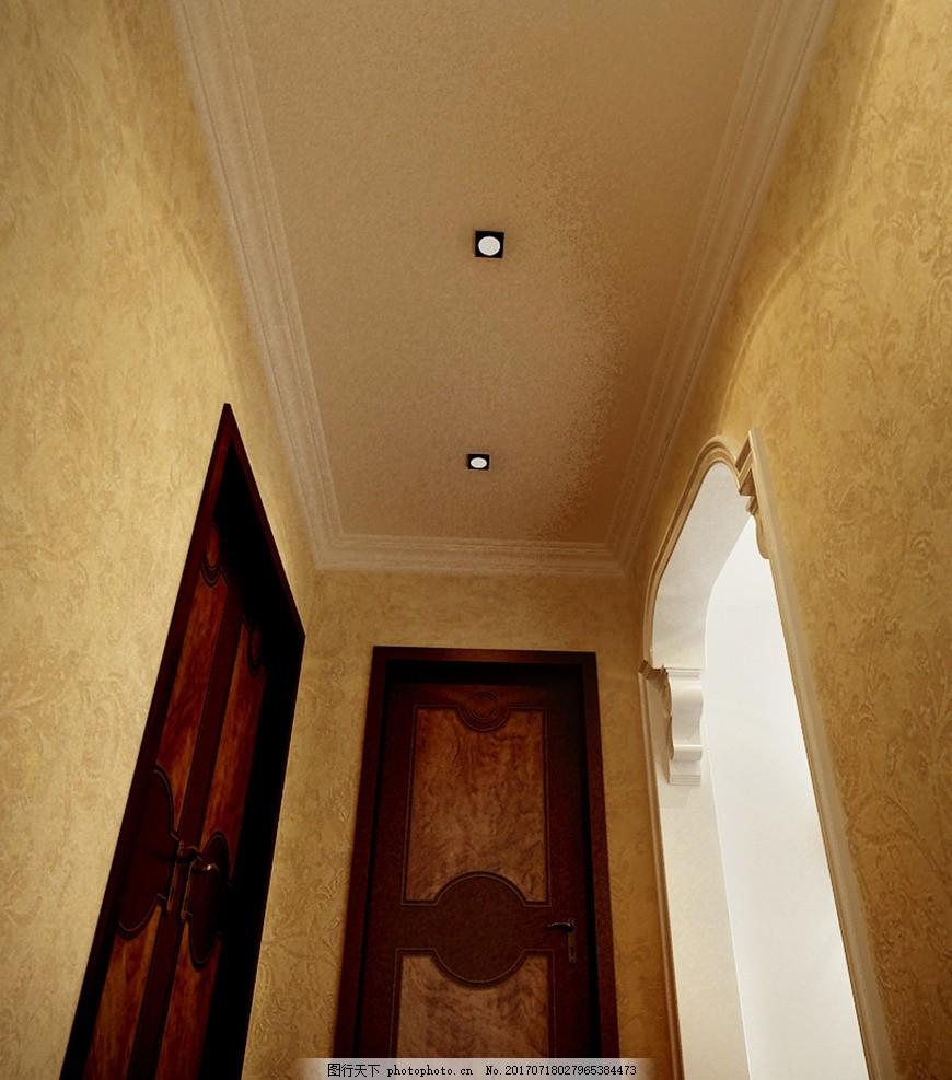 走廊效果图 室内设计 装饰 装修 家装        欧式风格 奢华 走廊