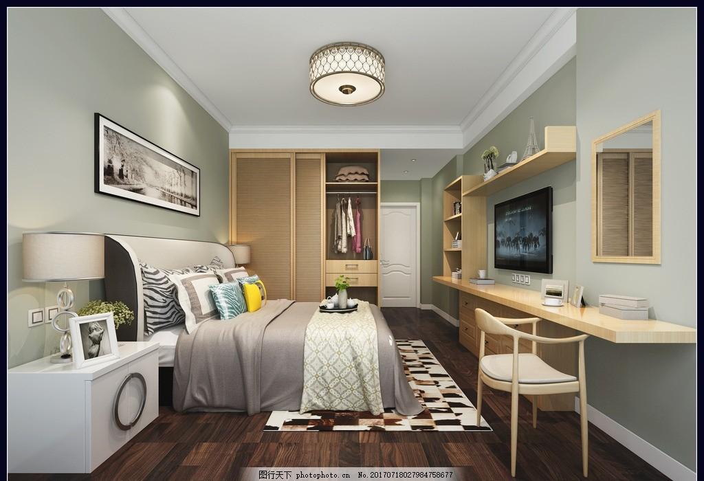 现代风格 卧室 衣柜 书桌 床