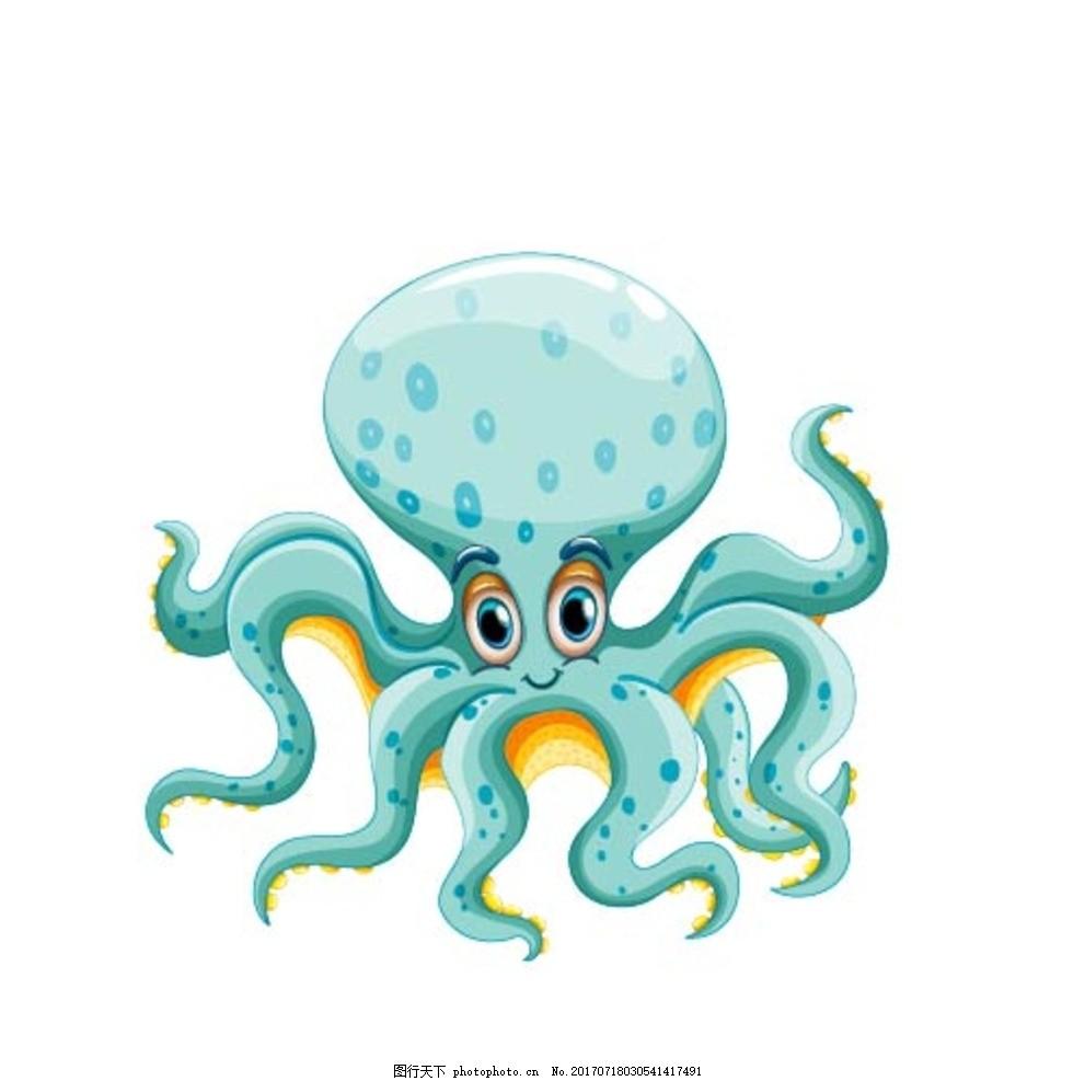 卡通章鱼,卡通动物 动漫卡通 可爱 贺卡 动物插画-图