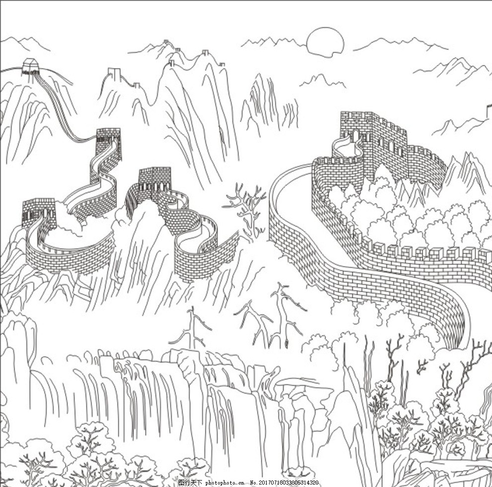 华 锦锈中华 长城 万里长城 狮子 石狮子 华表 飘带 天空 豪华